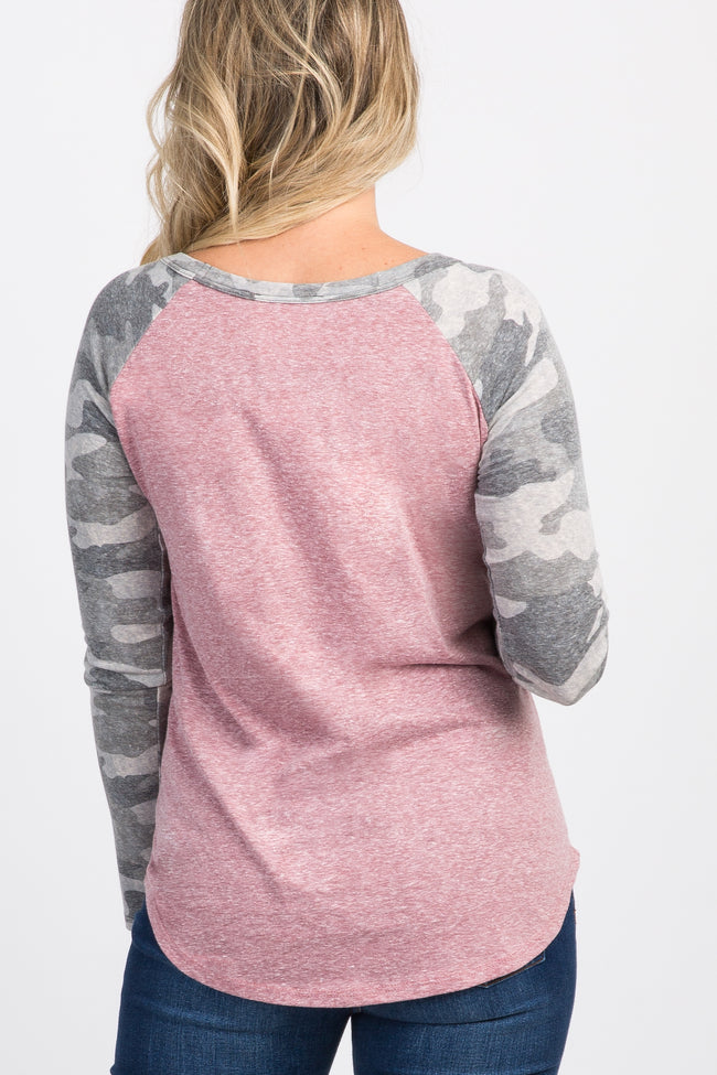Mauve Camo Print Colorblock Long Sleeve Maternity Top