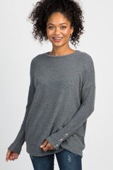 Charcoal Grey Soft Knit Button Sleeve Maternity Top