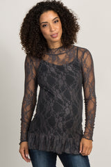 Charcoal Grey Lace Ruffle Maternity Top