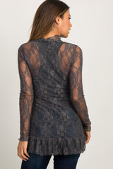 Charcoal Grey Lace Ruffle Top