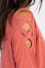 Coral Crisscross Sleeve Top
