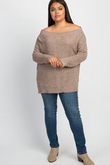 Mocha Knit Off Shoulder Plus Maternity Top