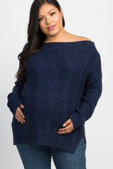 Navy Knit Off Shoulder Plus Maternity Top
