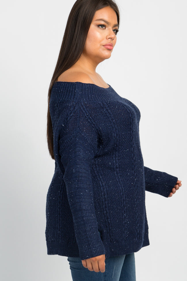 Navy Knit Off Shoulder Plus Top