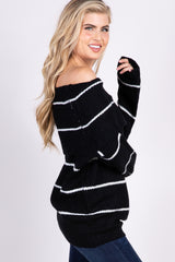 Black Striped Knit Foldover Sweater