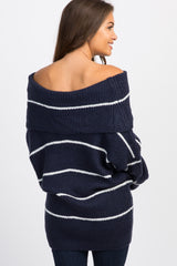 Navy Striped Knit Foldover Maternity Sweater