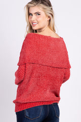 Rust Chenille Knit Off Shoulder Sweater