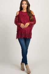 Burgundy Cold Shoulder Lace Maternity Top