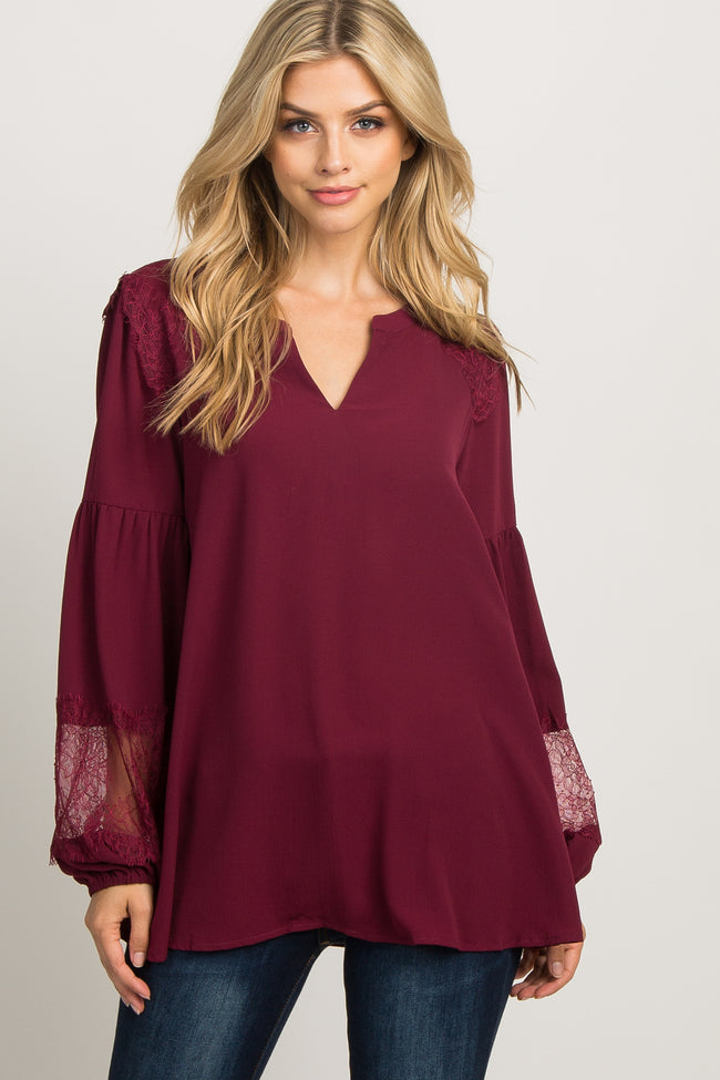 Burgundy Lace Accent Puff Sleeve Maternity Blouse