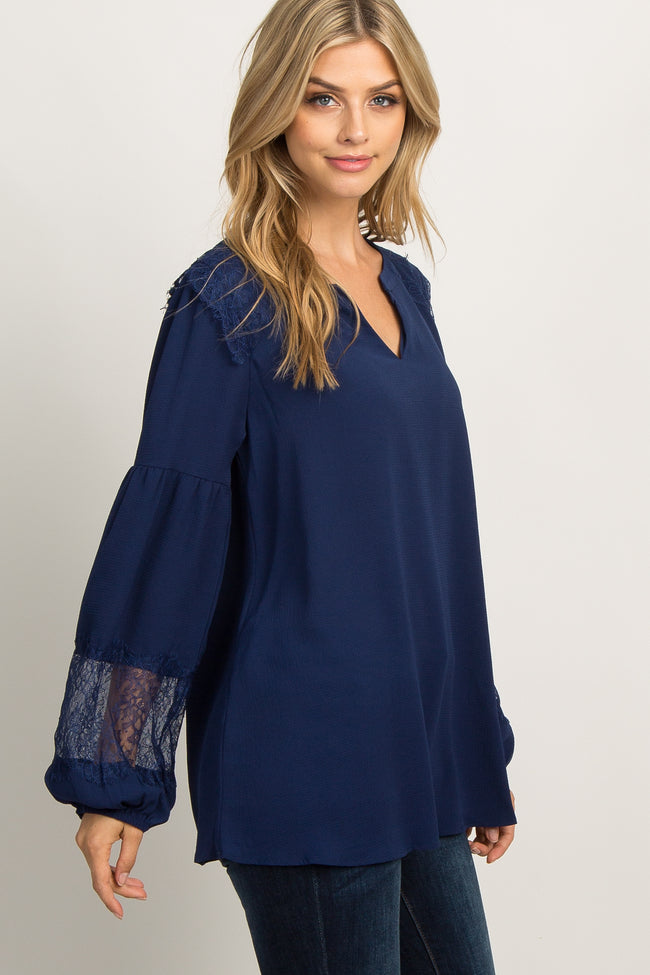 Navy Lace Accent Puff Sleeve Blouse