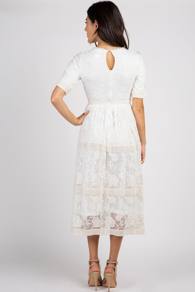 Cream Short Sleeve Lace Overlay Midi Dress