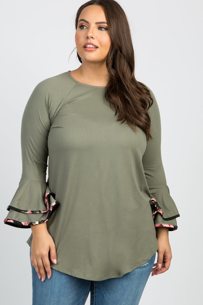 Olive Ruffle Sleeve Floral Trim Plus Top