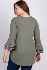 Olive Ruffle Sleeve Floral Trim Plus Maternity Top