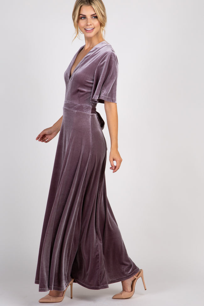 Lavender Tie Back Velvet Maxi Dress