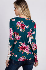 Teal Floral Crochet Sleeve Fitted Top