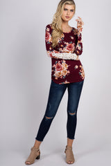 Burgundy Floral Crochet Sleeve Fitted Top
