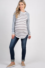 Heather Grey Colorblock Striped Maternity Hoodie