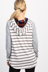 Heather Grey Colorblock Striped Hoodie