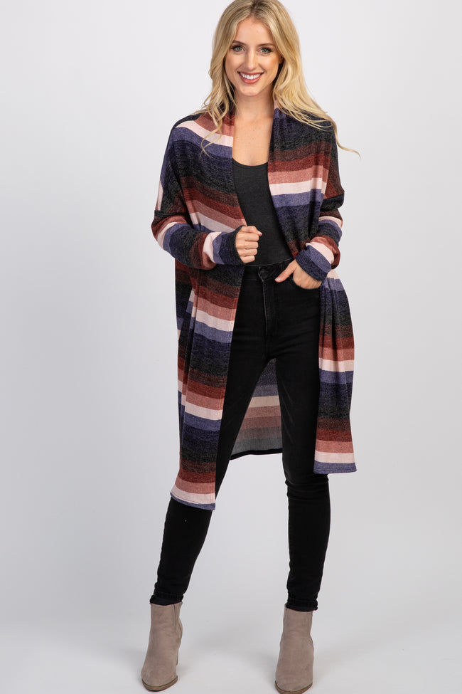 Burgundy Striped Maternity Cardigan