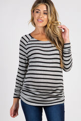 Black Striped Ruched Knit Maternity Top