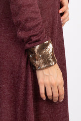 Burgundy Long Sleeve Sequin Dress