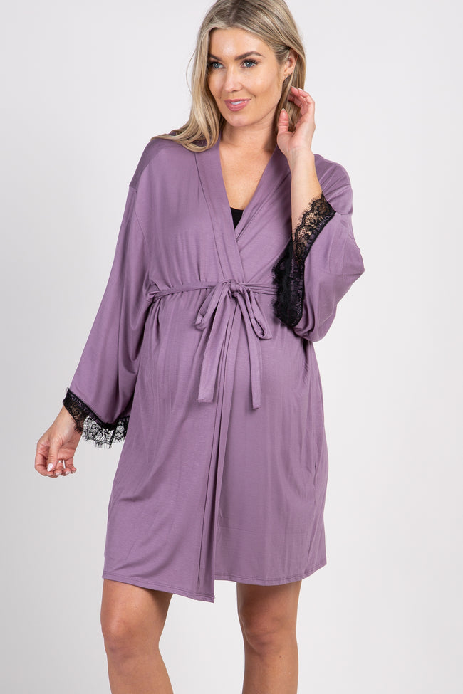 Lavender Lace Trim Delivery/Nursing Maternity Robe