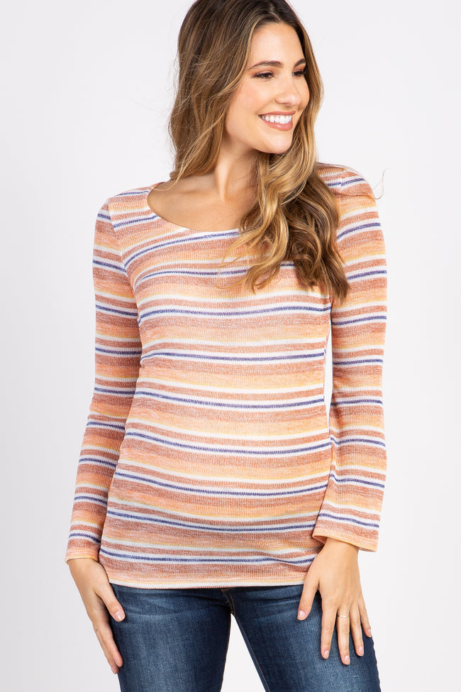 Rust Striped Long Sleeve Maternity Top
