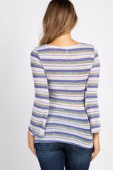 Navy Striped Long Sleeve Maternity Top