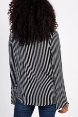 Black Striped Cutout Draped Front Maternity Blouse
