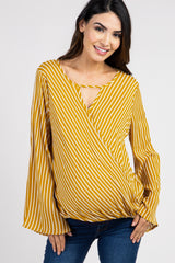 Yellow Striped Cutout Draped Front Maternity Blouse