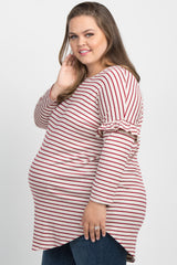 Burgundy Striped Ruffle Trim Dolman Plus Maternity Top
