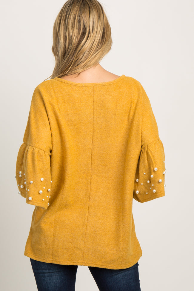 Marigold Bell Sleeve Pearl Accent Maternity Top
