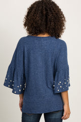 Navy Blue Bell Sleeve Pearl Accent Top