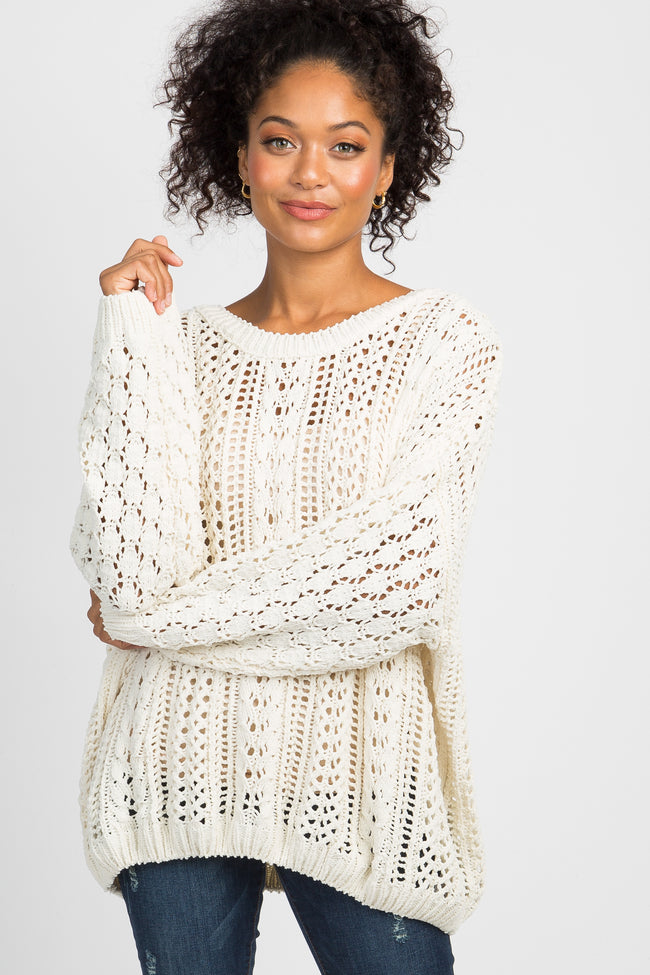 Ivory Crochet Knit Sweater