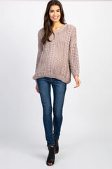 Mocha Crochet Knit Maternity Sweater