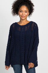 Navy Blue Crochet Knit Sweater
