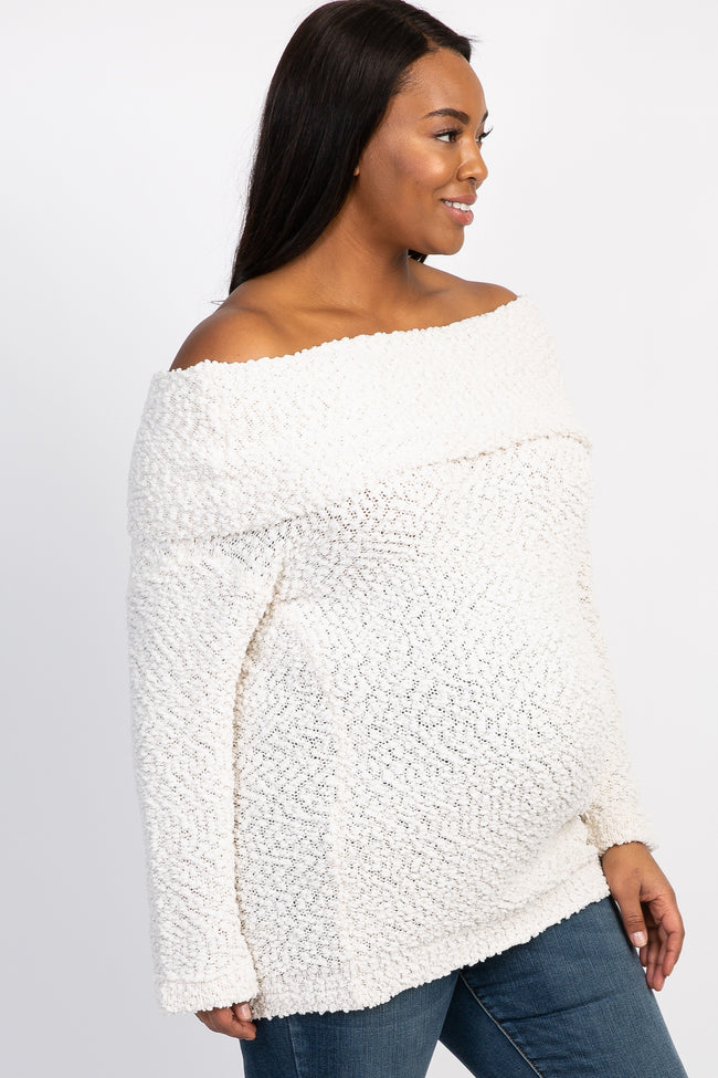 Cream Popcorn Knit Off Shoulder Plus Maternity Sweater