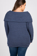 Navy Popcorn Knit Off Shoulder Plus Maternity Sweater