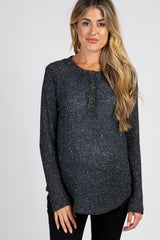 Charcoal Long Sleeve Knit Button Front Maternity Top