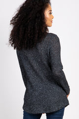 Charcoal Long Sleeve Knit Button Front Top