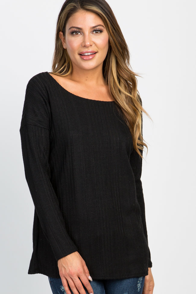 Black Solid Ribbed Long Sleeve Top