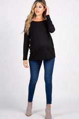 Black Solid Ribbed Long Sleeve Maternity Top