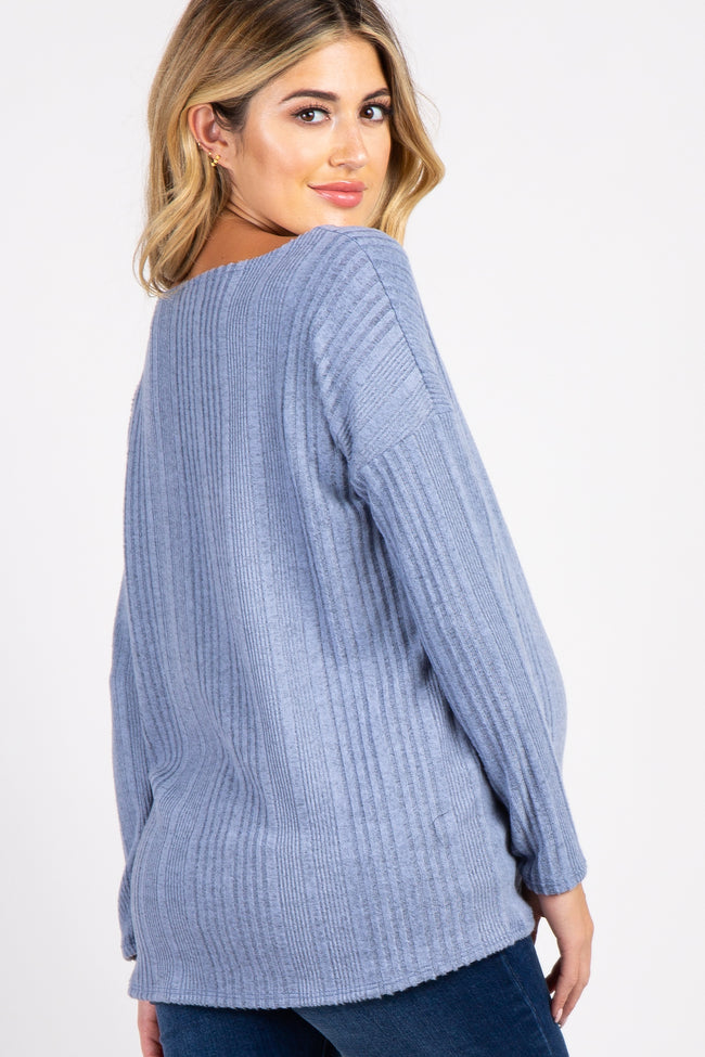 Light Blue Solid Ribbed Long Sleeve Maternity Top