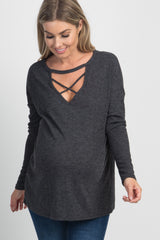 Charcoal Criss Cross Maternity Top