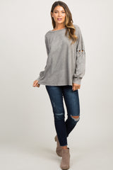 Grey Wash Lace-Up Sleeve Top