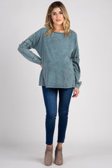 Teal Wash Lace-Up Sleeve Maternity Top