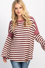 Burgundy Striped Puff Sleeve Top