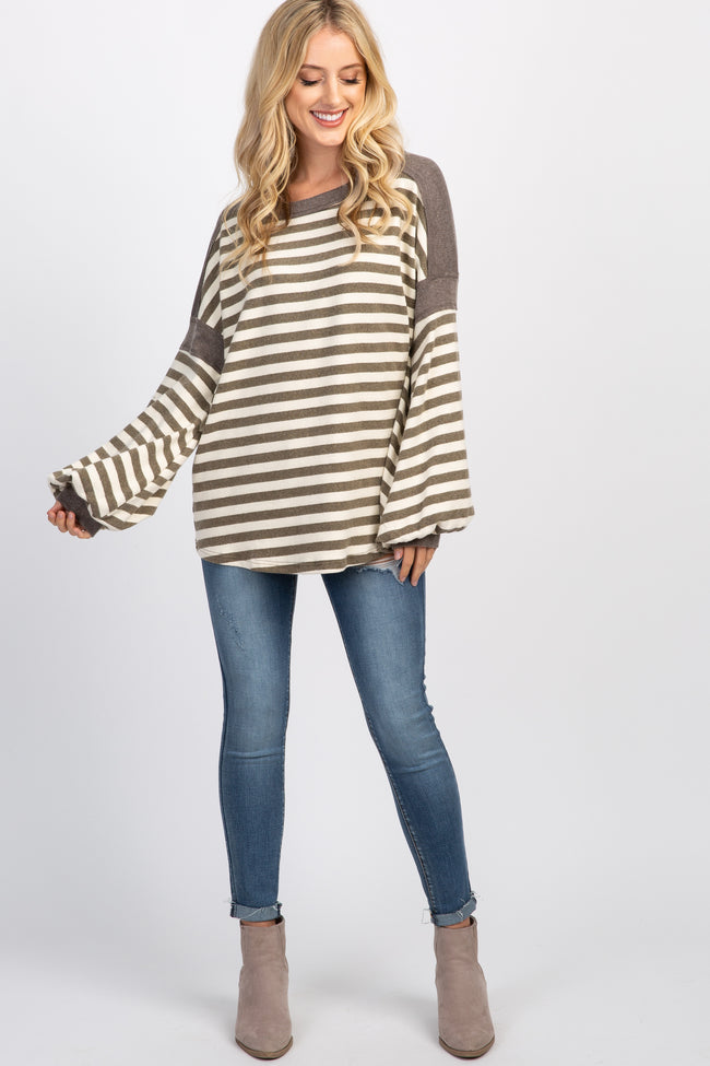 Taupe Striped Puff Sleeve Maternity Top