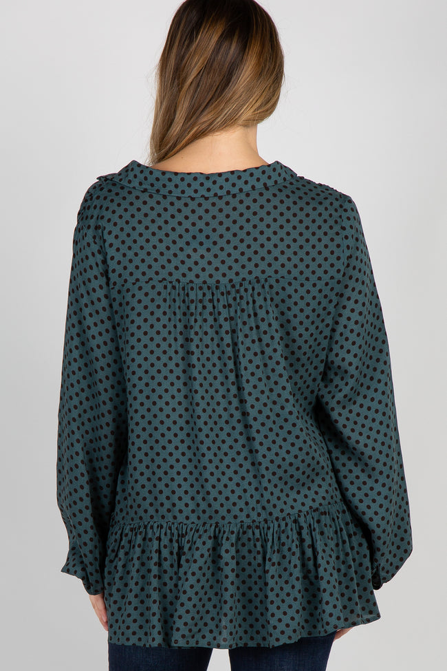 Teal Polka Dot Tie Collared Neck Maternity Blouse