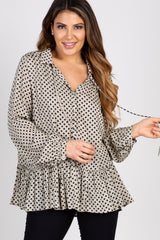 Taupe Polka Dot Tie Collared Neck Blouse